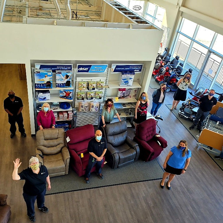 Barrie showroom - arial view with team