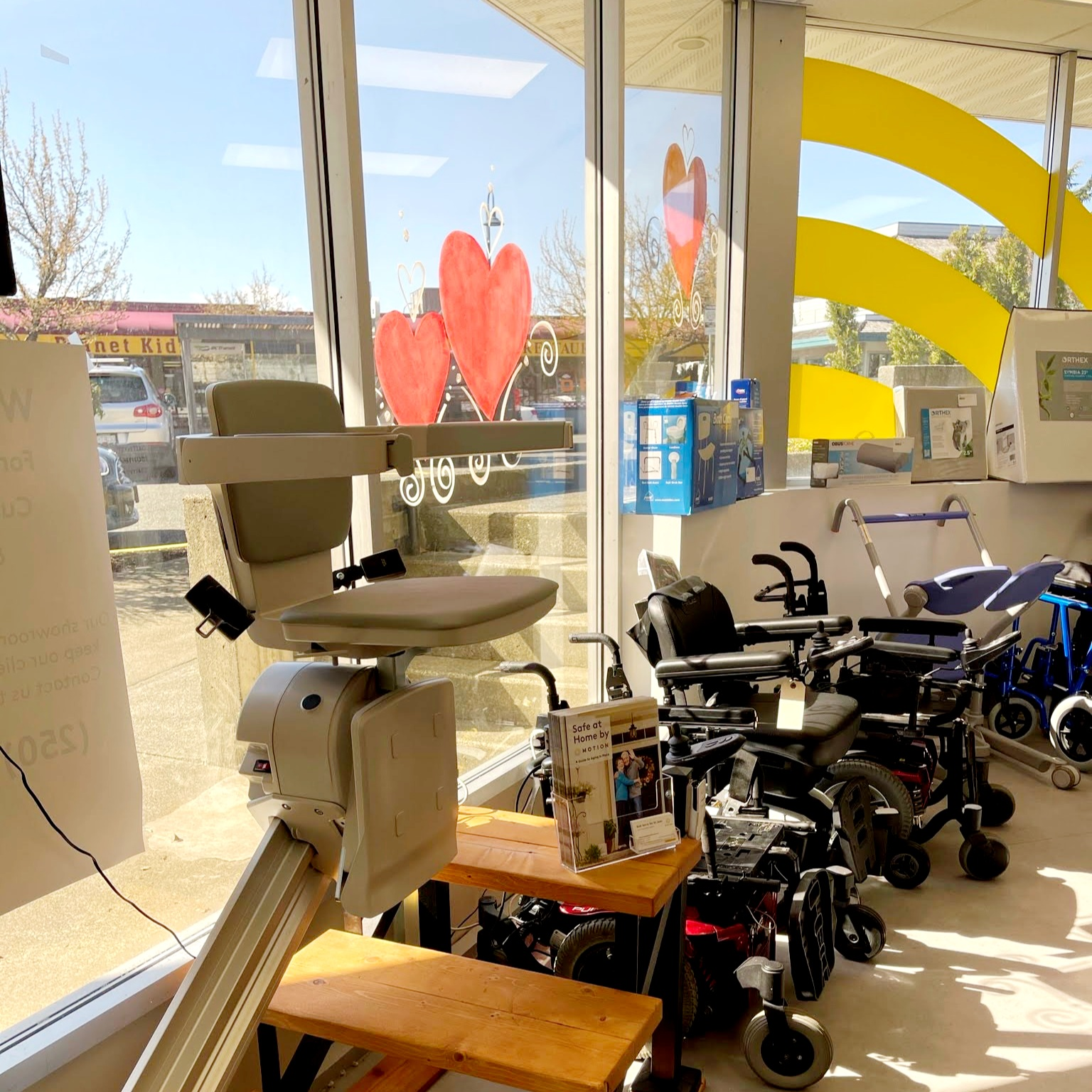Comox showroom - stairlift and wheelchair display