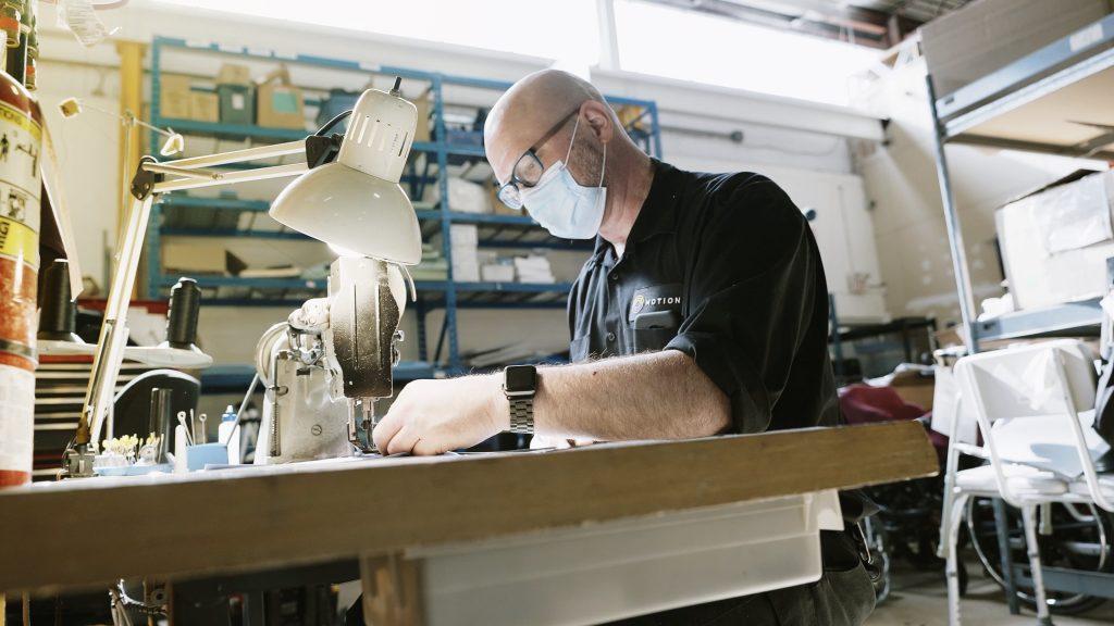 Man sewing